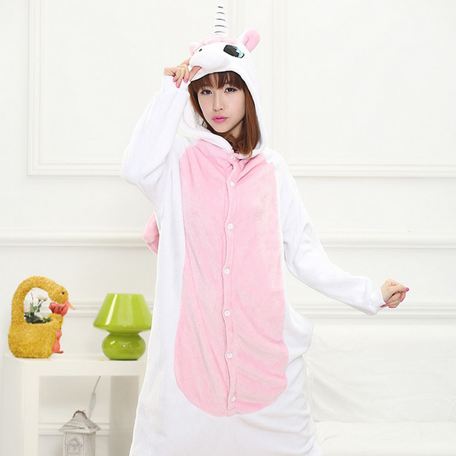 2017 Halloween Autumn and Winter Pajama Sets Cartoon Sleepwear Women Pajama Flannel Animal Stitch Panda Unicorn Tigger Pajama