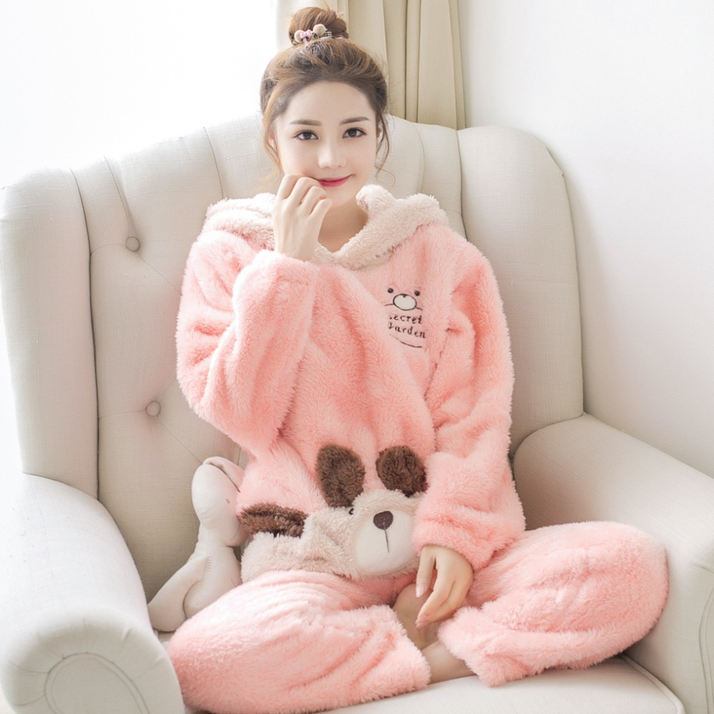 JINUO plush size Flannel Winter Women Warm Printing Cartoon bear   pajamas     sets   with hooded Home Wear Suit pyjamas femme soft