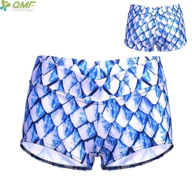 d0c61359fc7a4 Cristales de hielo Básculas Pantalones cortos mujeres deportes gimnasio pantalón  corto cristal azul sirena fitness entrenamiento