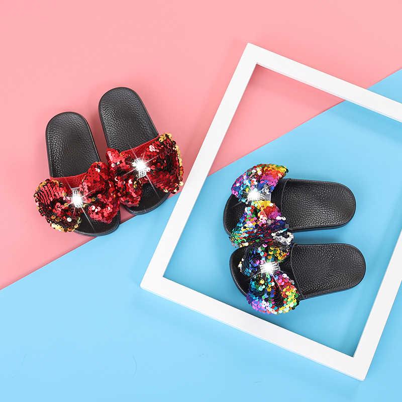 ฤดูร้อนเด็กแฟชั่นสไลด์เด็กทารก Bow รองเท้าเด็กวัยหัดเดินรองเท้าแตะ Rhinestone เด็ก Glitter ยี่ห้อสไลด์สีดำเลื่อมรองเท้า 2019