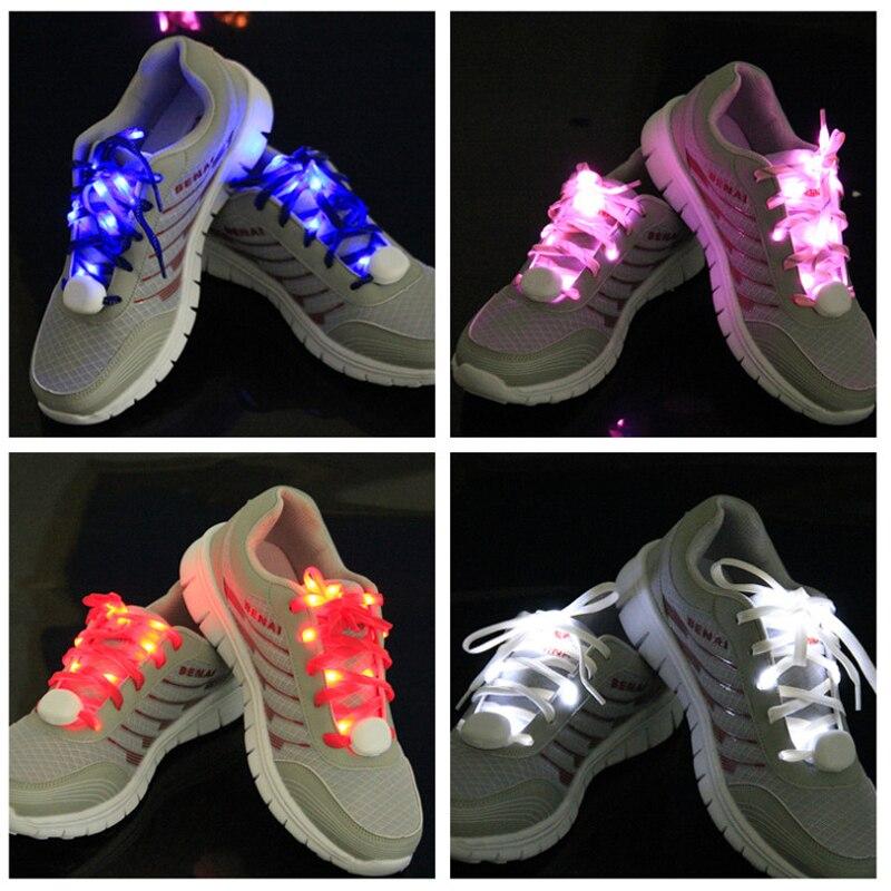 20pcs lot hot sale Nylon light up LED Shoelaces Flash Glow safety multicolor Shoestring Stick Strap