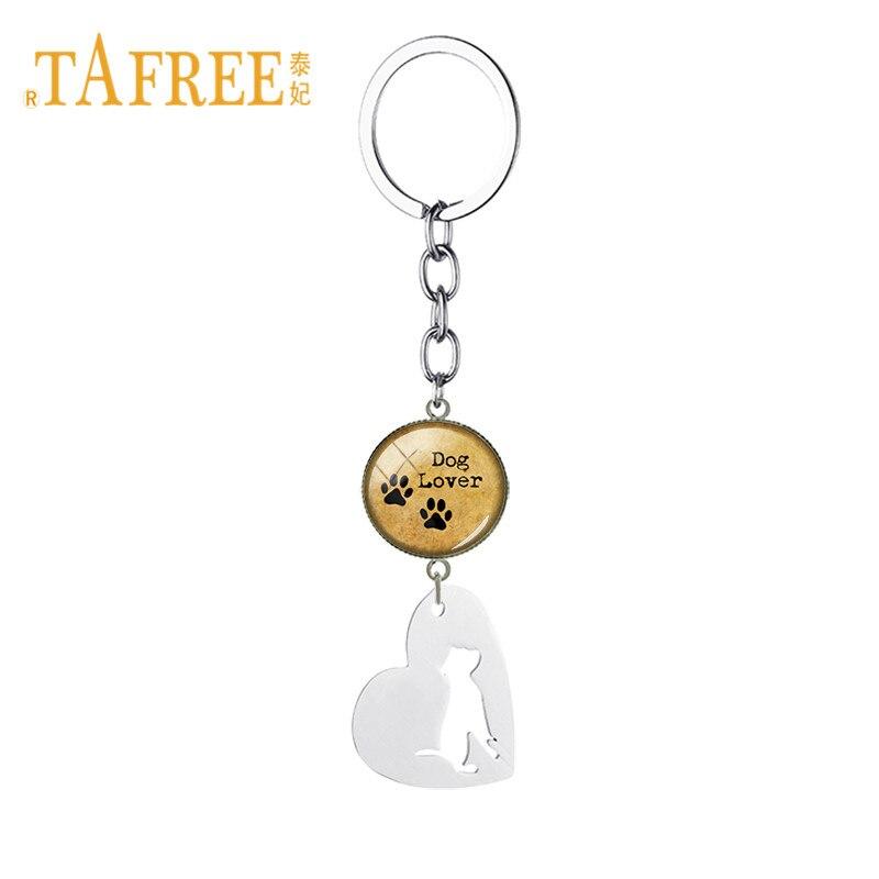 TAFREE Fashion Hollow Heart Bulldog Dog And Paw Print Key Chain Stainless Steel Glass Cabochon Pendant Dog Lover Jewelry SKU01