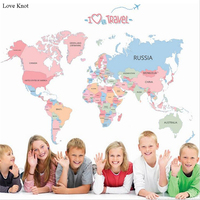 1Pcs World Map Vinyl Wall Stickers For Kids Rooms Office Living Room Bedroom Background Wall Sticker Adesivo De Parede Posters