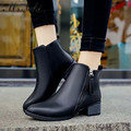 2016 new autumn winter boots women warm plush inside ankle boots fashion pu leather pointed toe thick heel womens shoes platform