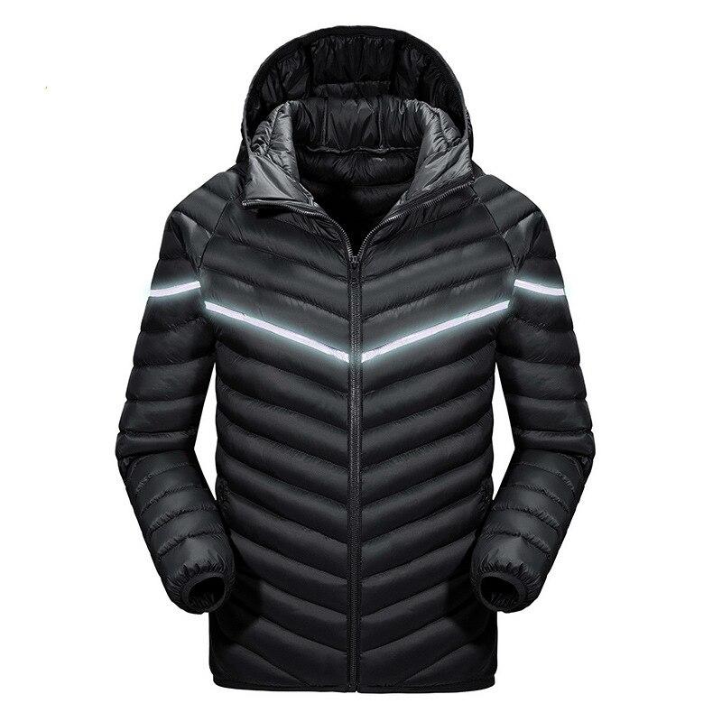 ФОТО Fashion Mens Luminous Water Resistant Warm Hoodie Chaqueta Hombre Windbreaker Ultralight Winter Cotton Jacket Men Outdoors Coat