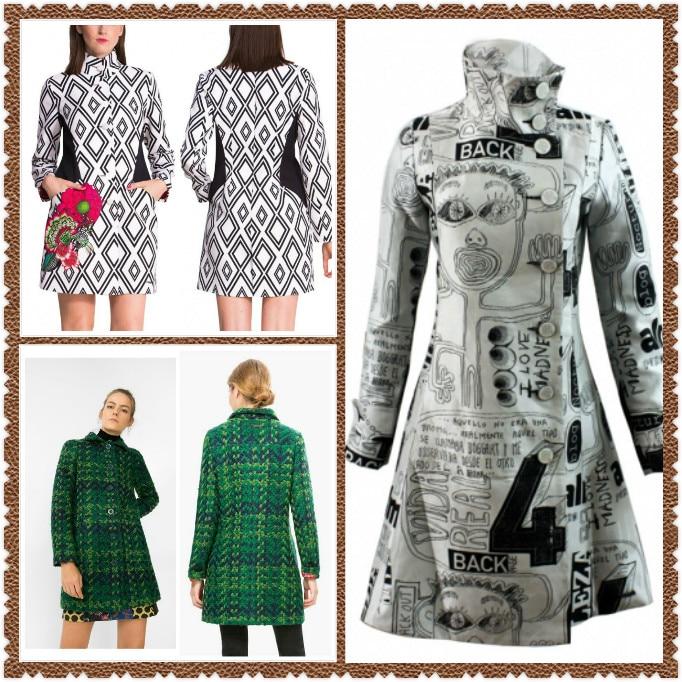 Kadın Giyim'ten Yün ve Karışımları'de 2019 Bir siyah ve beyaz işlemeli trençkot Bayan desigu ceket İspanya 36 46'da  Grup 1