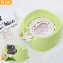 Petshy New Cat Bedpans Toilet Semi-closed Training Litter Box Kitten Puppy Small Pets Pee Self Cleaning Potty
