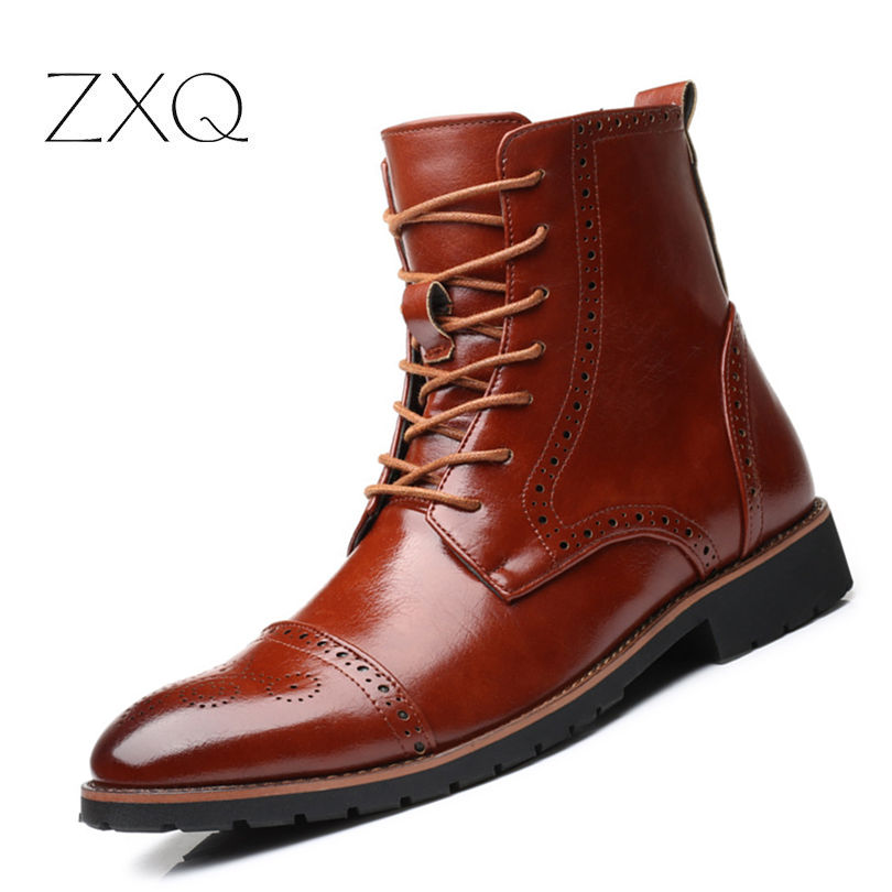 Plus Size 38-48 British Style Vintage Men Brogue Boots College Style Winter Ankle Boots Formal Dress Oxford Shoes недорого