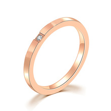 2019 jingyang Titanium Steel Ring Woman Rose Golden Lovers Stainless One Granulite Inlay Drill Yes rings for women