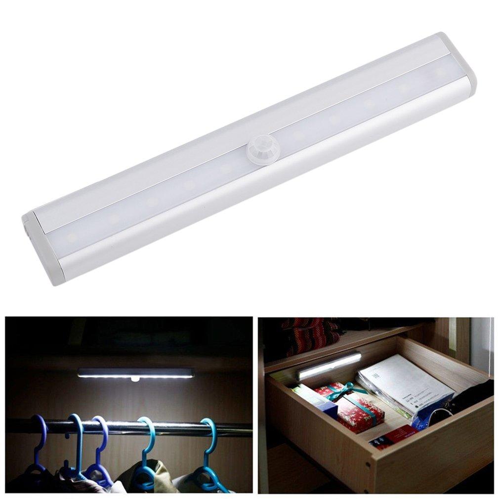 10 LED Bright Wireless PIR Motion Sensor Light Cabinet Wardrobe Drawer Lamp Bulb