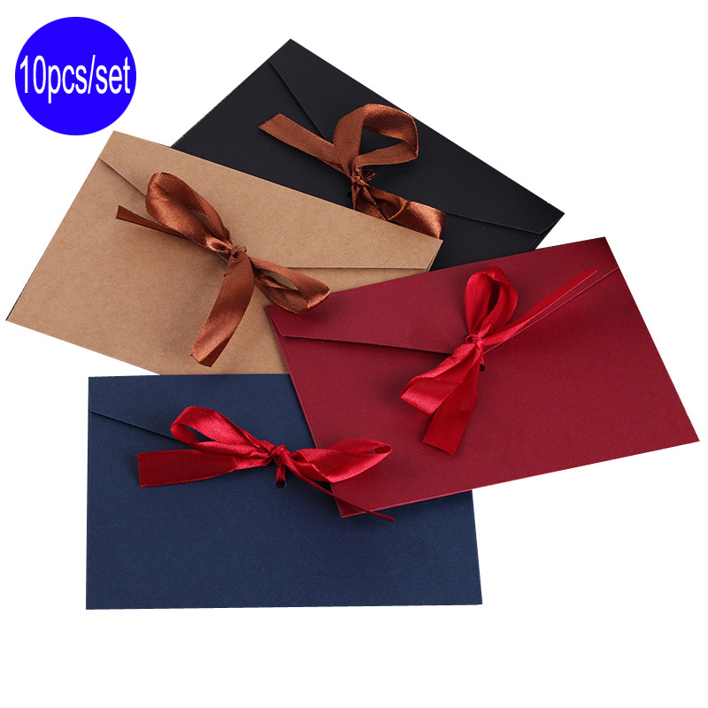 Delvtch 10pcs/Set Black Red Blue Craft Paper Envelopes Vintage Retro Style Envelope For Office School Card Scrapbooking Gift