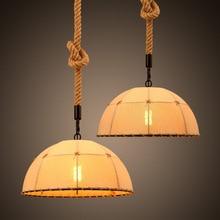 Retro Industrial Hemp Rope Pendant Light Fabric Shade Vintage Restaurant Pendant Lamp Semi Round Cafe Bar Lights Suspension стоимость