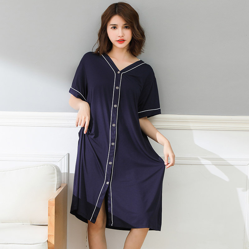 Plus size Night Dress Summer Short Sleeve   Nightgowns   Soft Nighty Lounge Wear Casual Home Clothes 4XL 5XL 6XL   Sleepshirts