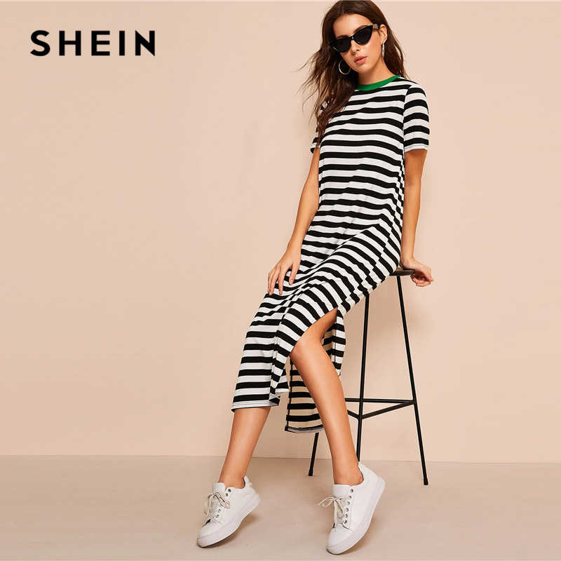 SHEIN Платье-туника в полоску с разрезом по бокам, женское повседневное черно-белое платье-туника с коротким рукавом и разрезом, 2019 летние платья