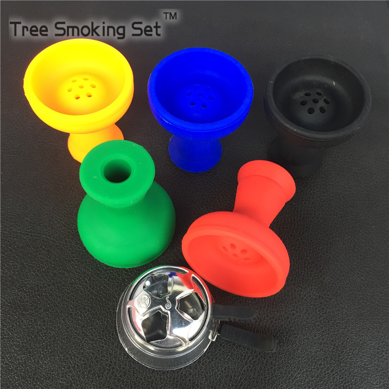1 pc Silicone Smokers Bowl Hookah Narguile Accessories+1 pc Metal Hookah Bowl Chicha Pipes For Smoking Weeds weed Smoke ...