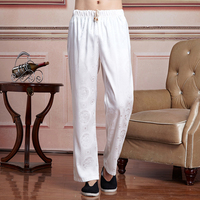 Summer Chinese Male Satin Kung Fu Pants Traditional Men Martial Arts Trousers Masculina Roupas Size M