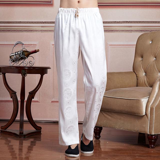 Verano Masculino Chino de Satén Kung Fu Pantalones De Hombre Tradicional Wu Shu Pantalones masculina roupas Tamaño M L XL XXL XXXL 2519-3