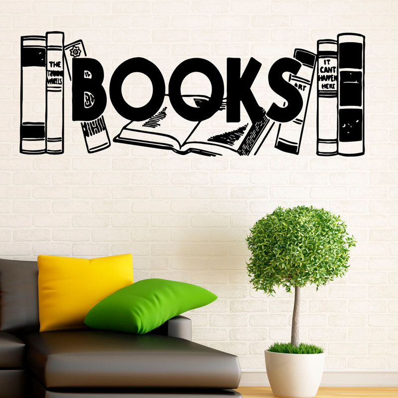 New Arrival Books Wall Sticker Study Art Wallpaper Bedroom Decor For Childrens Room Library Decoration Mural Wall Stickers Home & Garden