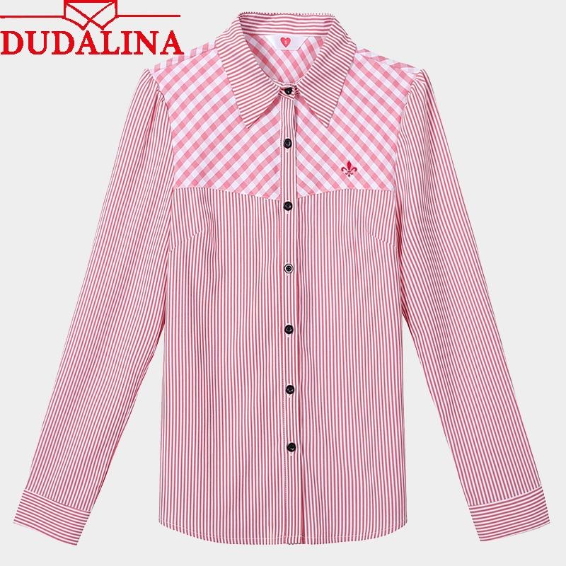 Dudalina Women Blouses Striped Long Sleeve Plaid Office Shirt Blouse Shirt Casual Tops Plus Size Blusas Feminina