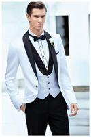 2017 wit wedding suits tuxedo Jas + Broek + Tie + Vest Formele Suits Bruidsjonkers kostuums Custom Made Beste Mannen Suits