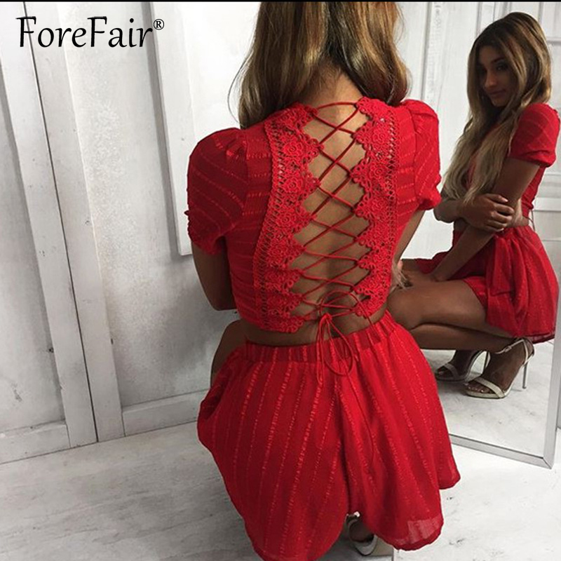 Forefair 2018 New Fashion Back Lace-Up Sets 2 Piece Set Women Sexy Short Sleeve Backless Crop Top Femme Red Black Shorts Suits
