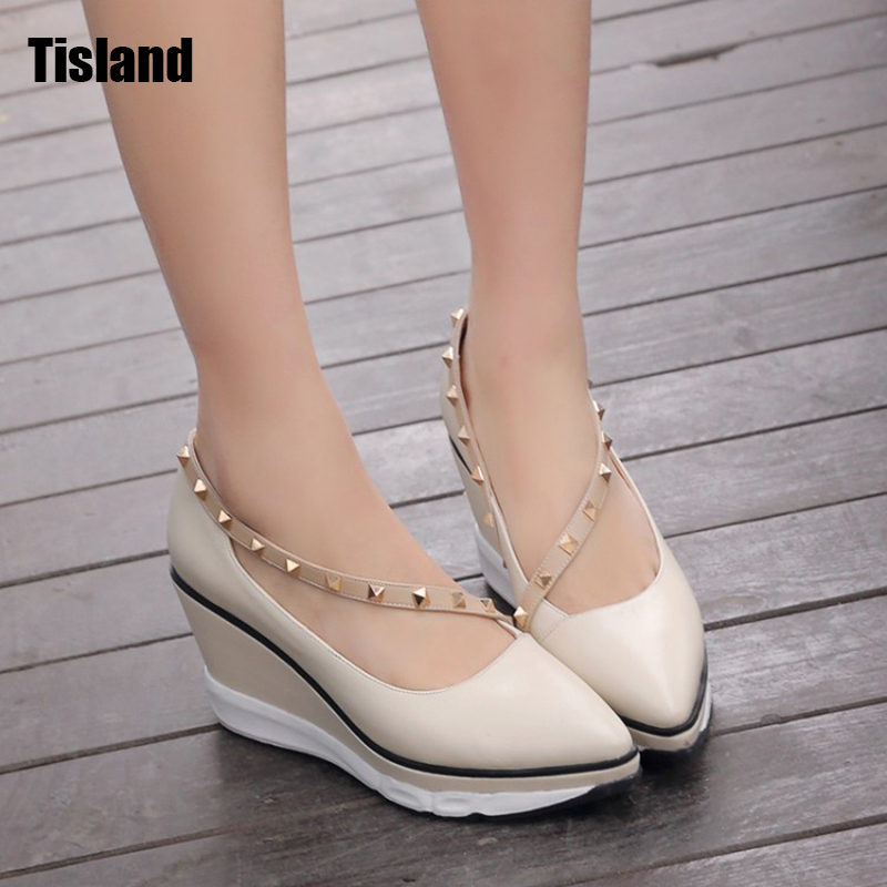 Fashion Leather Shoes Women Pumps Sexy High Heeled Shoes Thick Heels Round Toe Platform Shoes Women's Wedge Wedding Shoes