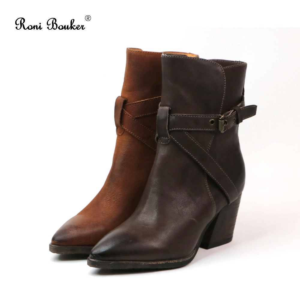 Roni Bouker New Arrival Vintage Style Shoes Woman Ankle Boots Autumn Winter Martin Booties Ladies Pointed Toes High heels roni bouker women zipper boots autumn winter snake ankle booties high heels fashion pointed toe ladies sexy shoes 2018 big size