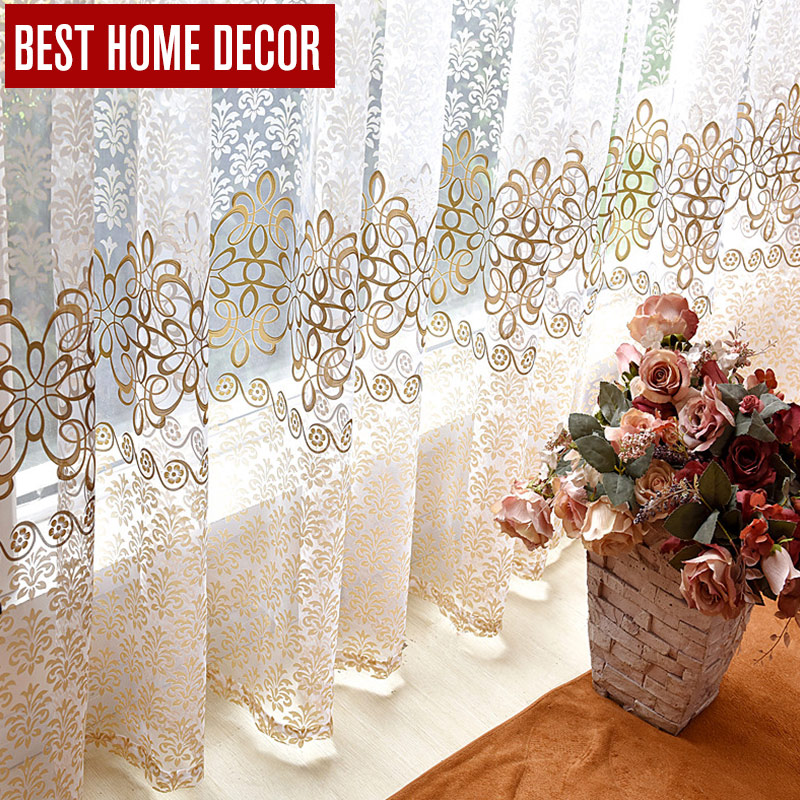 BHD cortinas de ventana de tul escarpadas florales para sala de estar, el dormitorio cortinas de tul modernas para cortinas de ventana cortinas de tela cortinas