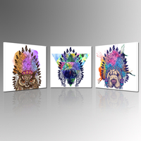 Nowoczesne Abstrakcyjne Orzeł Sowa i Pies w Indian Stroik Lider Na Płótnie Malarstwo Ścienne Sztuki Współczesnej Grafiki Gotowy do Powieszenia