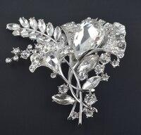 Fashion Bride Flower Brooch Pin Clear Rhinestone Crystal Bridal Bridesmaid Wedding Accessories