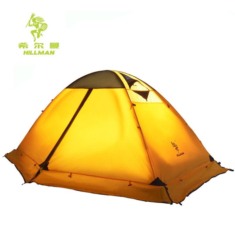 Hillman reise 2 p outdoor camping zelt doppel schicht aluminium pole winddicht wasserdichte ausrüstung hohe qualität mit schnee rock