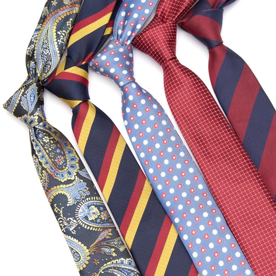 Men Tie England Style Stripes Skinny Ties JACQUARD WOVEN Men's Fashion Neck Tie 6cm Business Wedding Bowtie Male Dress Necktie