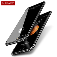 MAKAVO For IPhone 7 Plus Case Luxury 2in1 Metal Frame Tempered Glass Back Cover Anti Knock