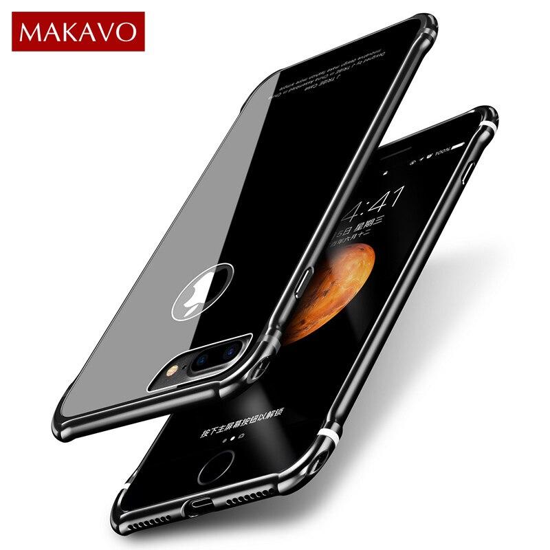 MAKAVO pour iPhone 7 Plus Cas De Luxe 2in1 Métal Cadre + Trempé verre de Couverture Arrière Anti-frapper Dur Logement pour iPhone7 6 8 Plus X