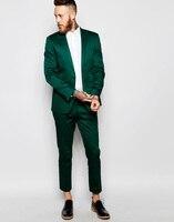 Slim Fit Groomsmen Peak Lapel Groom Tuxedos Green/Teal/Yellow/Purple Men Suit Wedding Best Man(Jacket+Pants+Tie+Hankerchief)B888
