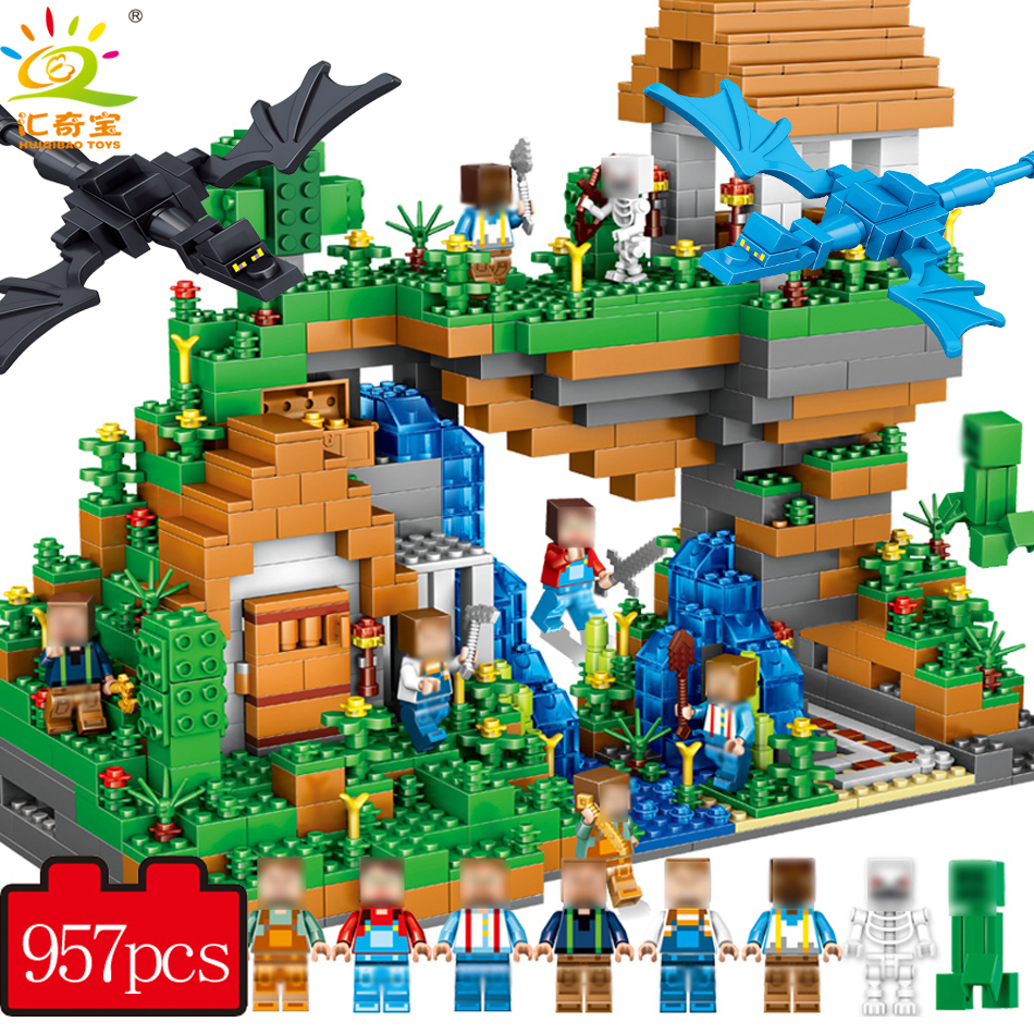 957+PCS My <font><b>World</b></font> <font><b>Hidden</b></font> Water Falls Building Blocks Bricks Toys Educational Toy Gift For Kids Compatible Legoed Minecrafted City