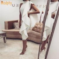 2018 New Women Sexy White Sleeveless Bodycon Patchwork Ruffles Vestidos Celebrity Party Clubwear Bandage Dress Dropship