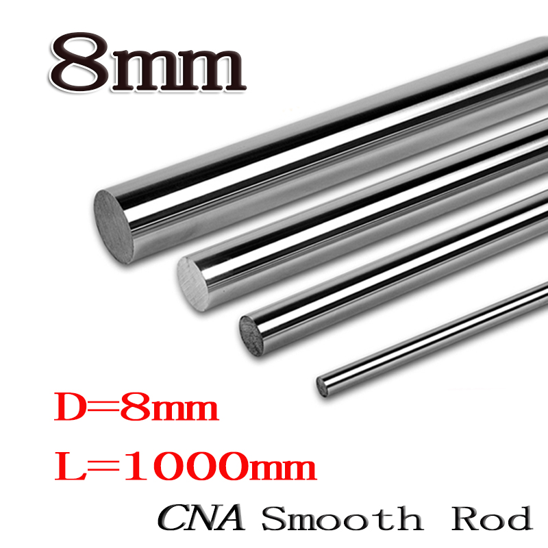 4pcs/lot dia 8mm linear shaft 1000mm long for LM8UU 8mm linear ball bearing linear smooth rod 8mm linear rail 1000mm sz hot 4 pcs lm8uu 8mm inside dia rubber sealed linear ball bearing bushing