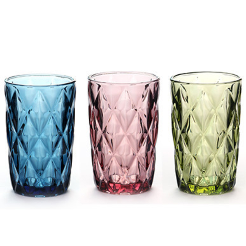 Engraving Water Glass 3 PCS Cup 240ml 350ml for Juice Milk Glasses Drinking European-style Tea Pink Blue Green