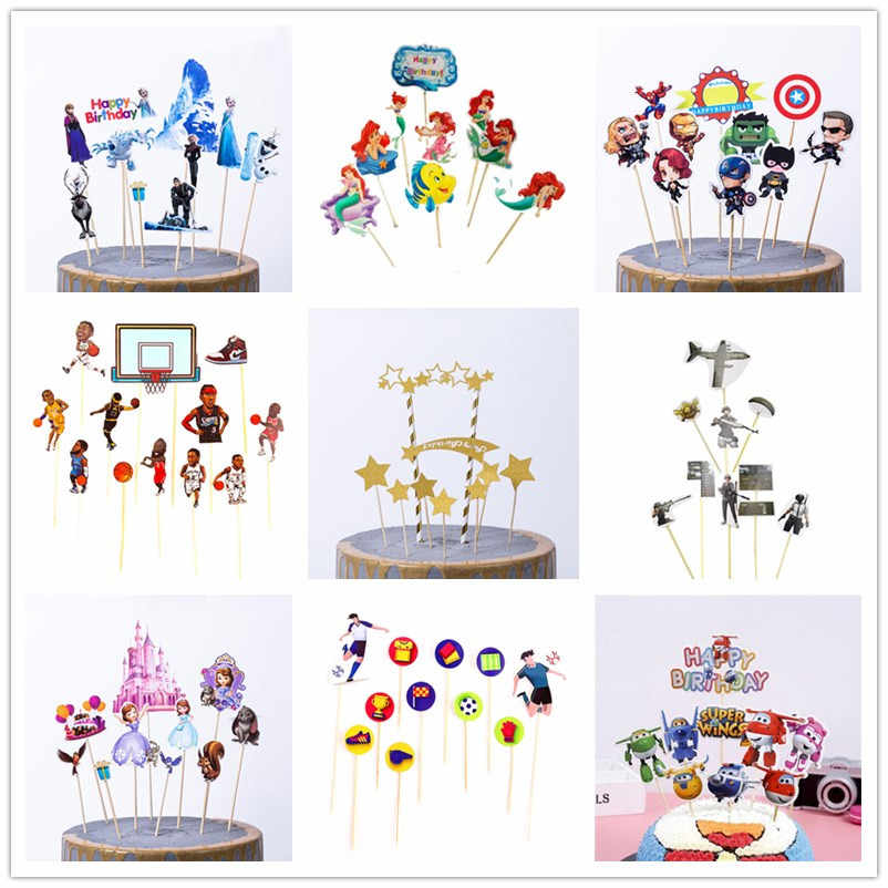 1set/pack Disney Forzen Happy Birthday Party Cake Topper Kids Favors Decorate Cupcake Toppers With Sticks Baby Shower Supplies