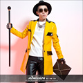 Male yellow long jacket costume fashion outerwear male personalized leather overcoat show dance nightclub singer free shipping