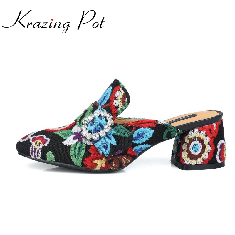 Fashion slip on brand shoes crystal buckle high heels casual round toe women pumps embroidery party sandals Chinese style L29 fashion slip on brand shoes crystal buckle high heels casual round toe women pumps embroidery party sandals chinese style l29