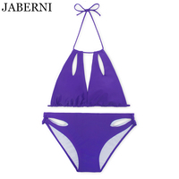 JABERNI Padded Swimwear 2017 New Sexy Bikini Set Sexy Push Up Swimsuit Hollow Out Bikini Solid
