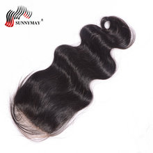 Sunnymay Silk Base Closure Brazilian Virgin Hair Lace 4*4 With Baby Human Natural Color