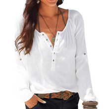 2017 Summer Autumn Ladies Solid Color Long Sleeve V Neck Blouses Slim Bottoming Blouse Casual Tops with Button Plus Size LX217 все цены
