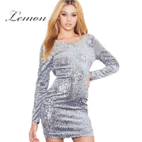 Lemon 2017 Fashion Dress Women Sexy Silver Sequined Backless Full Sleeve Vestidos Brief O-neck Slim Summer Bodycon Dress