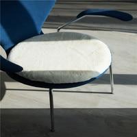 White Rabbit Hair Home Office Decor Round Comfortable Seat Cushion Office Bar Chair Back Seat Cushions Sofa Buttocks Chair 1Pcs