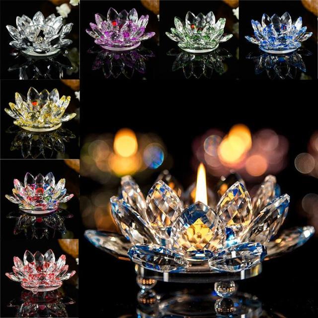 7 Colors Crystal Glass Lotus Flower Candle Holder Tea Light Holder Buddhist Candlestick holder decorative Party Wedding 5O1207 2