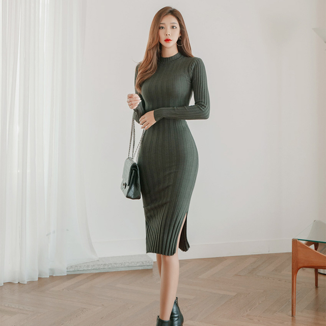 Vintage Stand Collar Slim Waist Bodycon Women Sweater Dress Side Split Midi Female Knitted Pullover Dress