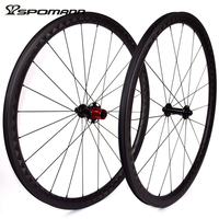 SPOMANN Road Bicycle Straight Pull Wheelset 700C Carbon Clincher Wheels 35mm Depth Carbon Cycling 11 Speeds